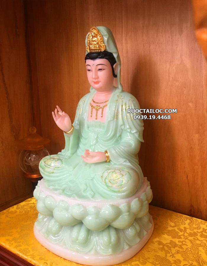 tượng Phật bà quan thế âm bồ tát xanh ngọc vẽ hoa 3d đẹp nhất