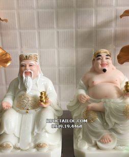 tượng ông địa thần tài trắng viền vàng đẹp