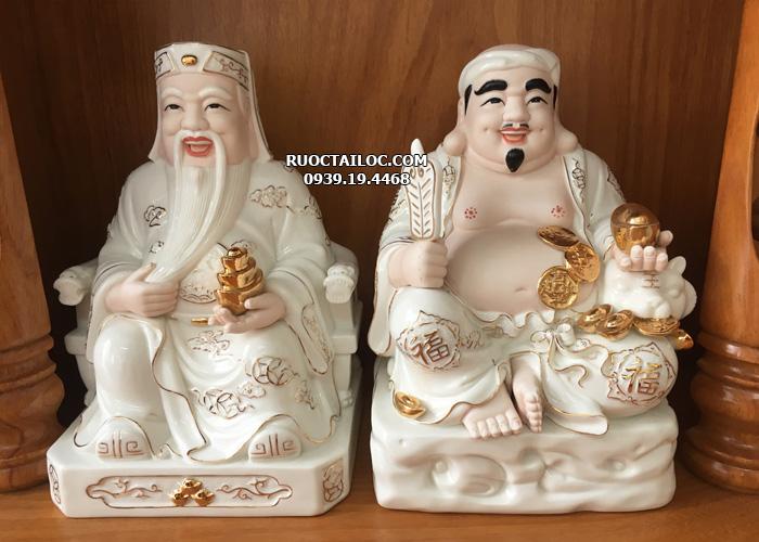 mua tượng ông địa thần tài bằng sứ trắng viền vàng đẹp tại hcm