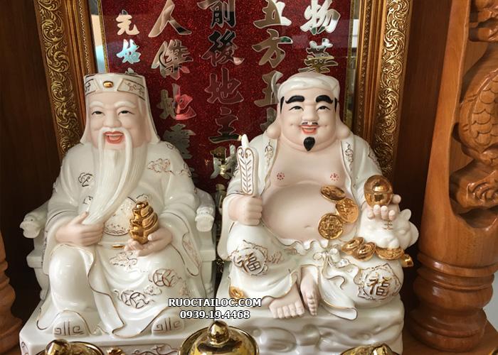 tượng ông địa thần tài bằng sứ trắng đẹp