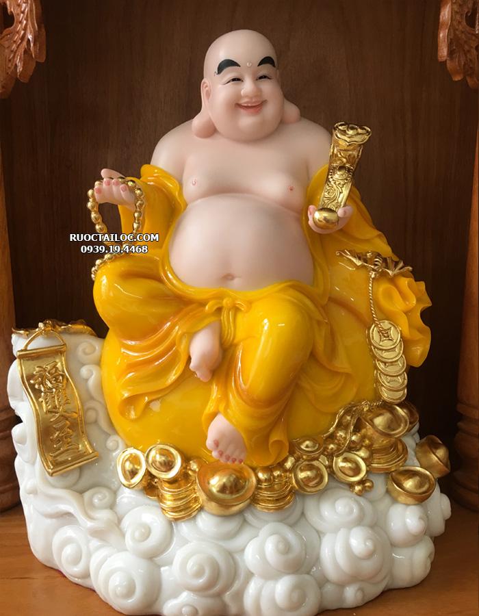 tượng phật di lặc đứng màu vàng hổ phách đẹp nhất hcm