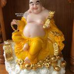 tượng Phật Di Lặc ngồi đứng màu vàng đẹp