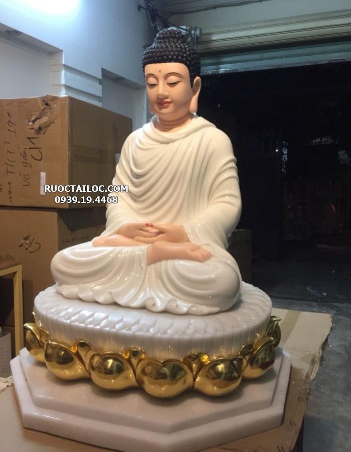 tượng phật thích ca trắng đế dát vàng đẹp