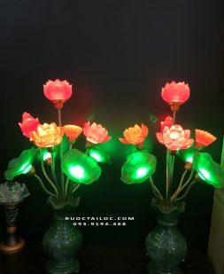 đèn bình ngọc 9 bông thờ phật thích ca đẹp