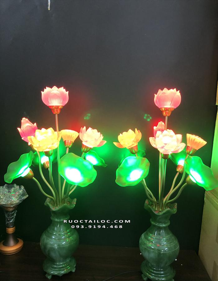 đèn bình ngọc 9 bông thờ phật đẹp