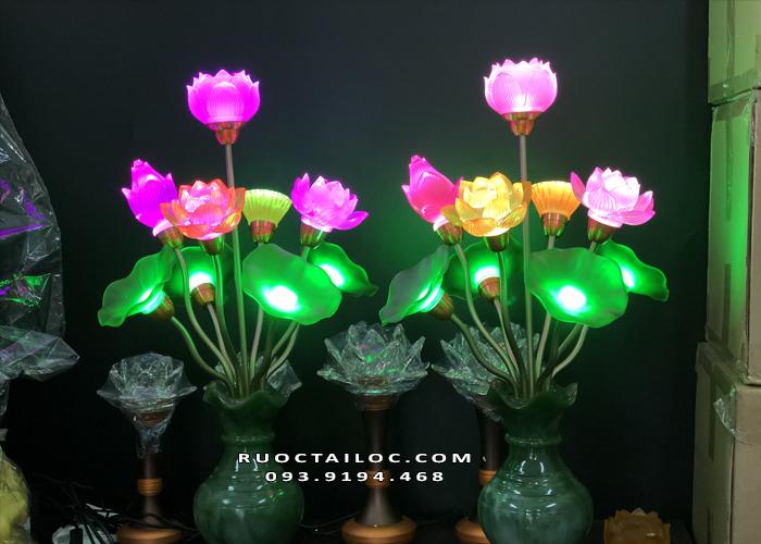đèn bình ngọc 9 bông thờ mẹ quan âm đẹp