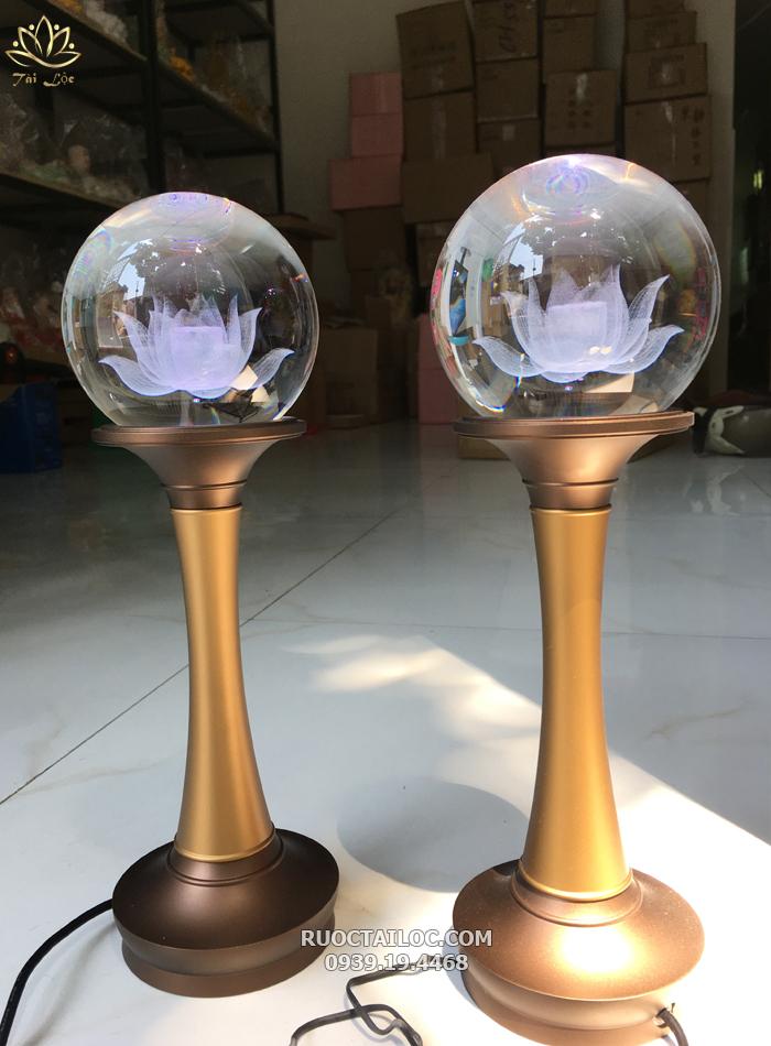 đèn cầu tròn thân đồng trang trí bàn thờ phật đẹp nhất