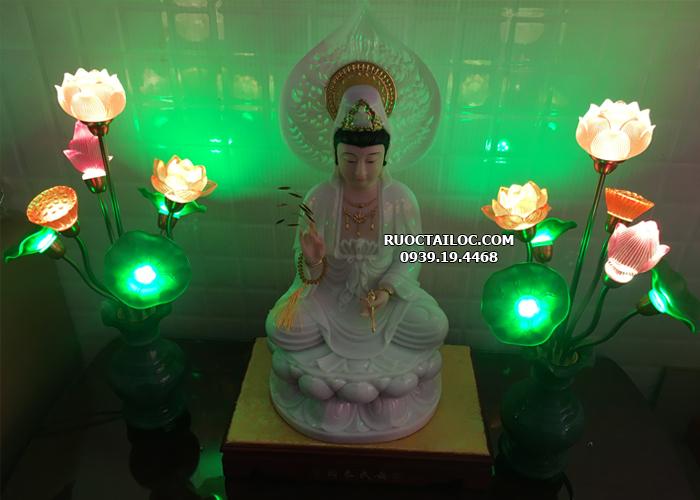 đèn bình ngọc phong thủy trang trí bàn thờ Phật đẹp