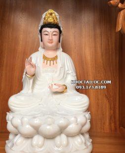 tượng phật bà quan âm trắng ngọc bằng đá đẹp