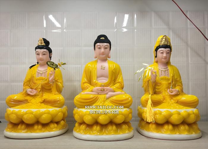 tượng tây phương tam thánh ngồi vàng hổ phách
