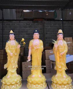 tượng tây phương tam thánh màu vàng thạch anh đẹp