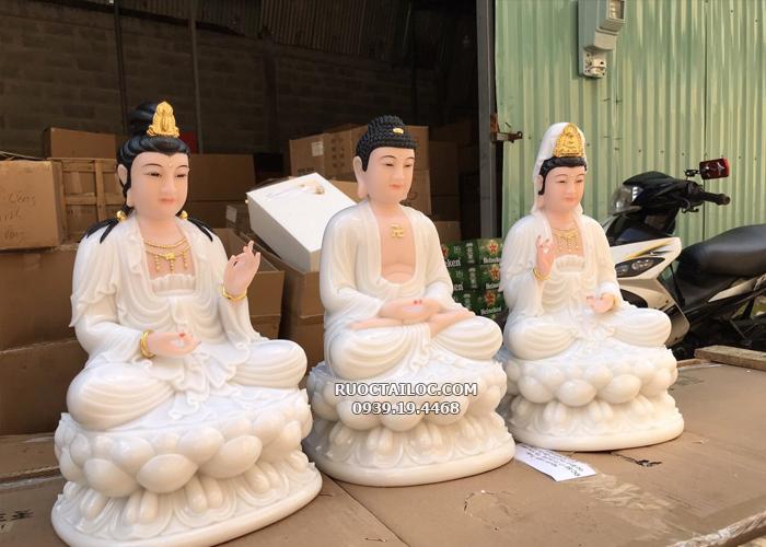 tượng tây phương tam thánh trắng ngồi đẹp