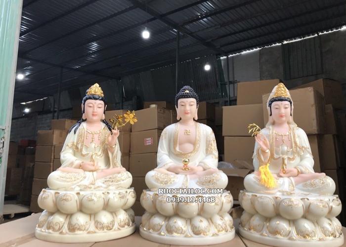 tượng tây phương tam thánh trắng viền vàng đẹp