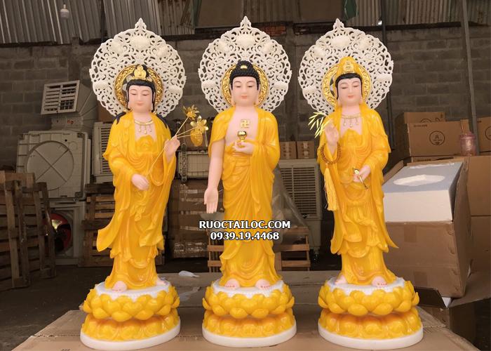 tượng tây phương tam thánh đứng hào quang hổ phách đẹp