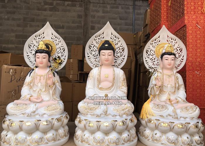 tượng tây phương tam thánh trắng viền vàng có hào quang đẹp