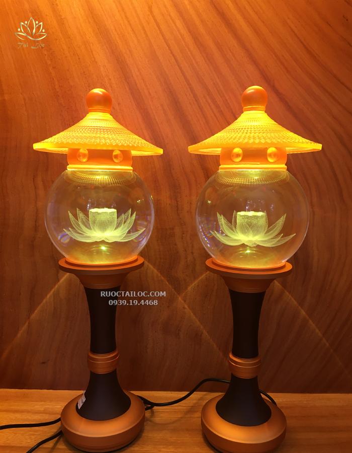 đèn thờ cúng thân hợp kim nắp ô lưu ly đẹp nhất