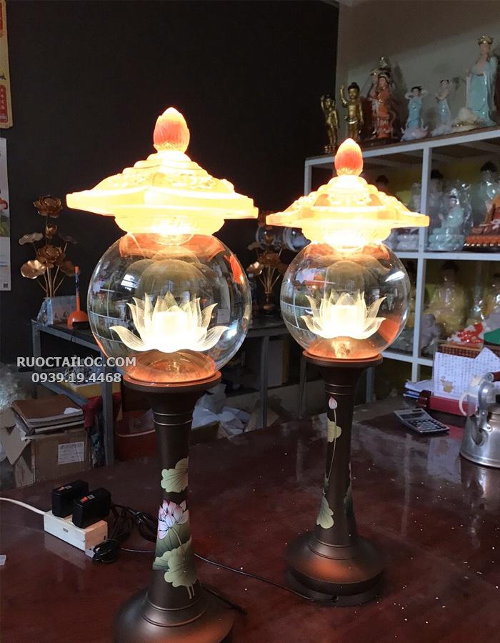 đèn trang trí bàn thờ phật bằng đồng đẹp nhất