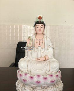 tượng quan âm sứ trắng sen hồng đẹp nhất hcm