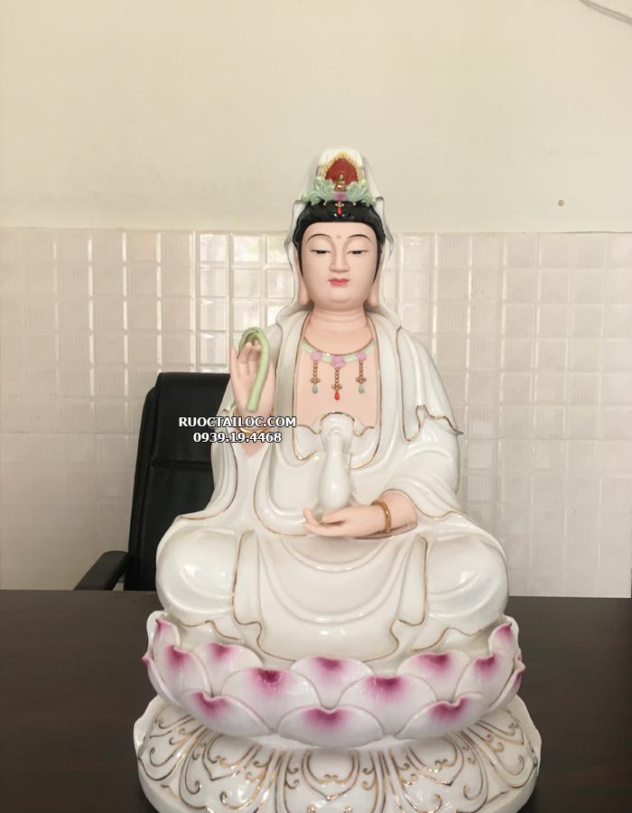 tượng phật bà quan âm bằng sứ trắng sen hồng đẹp