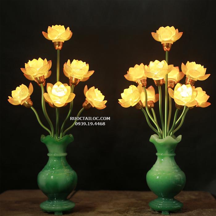 đèn bình ngọc 9 bông sen nở thờ phật siêu đẹp