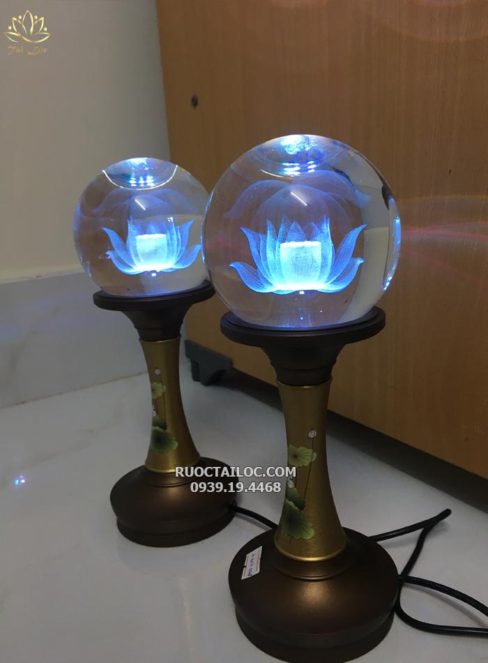 đèn cầu tròn thân đồng trang trí bàn thờ phật đẹp