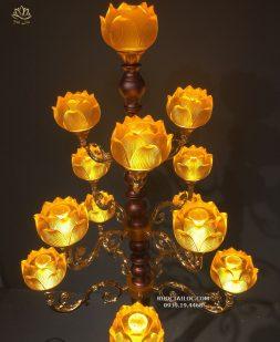 đèn thờ cúng sen lưu ly 13-17-19 bông đẹp