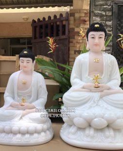 tượng phật dược sư trắng bằng đá đẹp