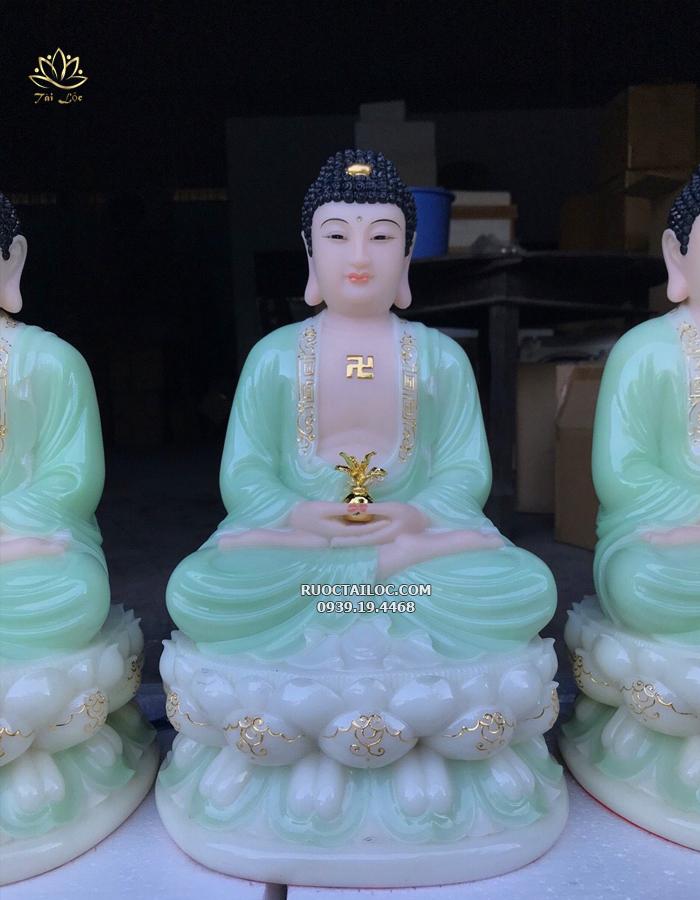 tượng phật dược sư màu xanh ngọc dát vàng đẹp