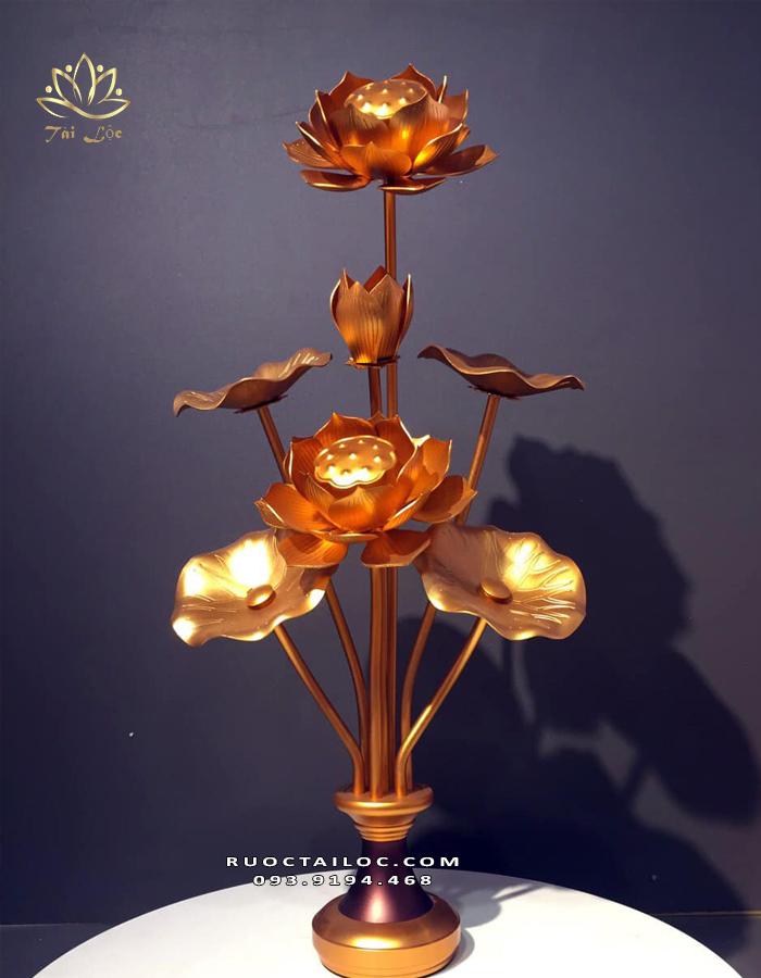 đôi lọ hoa sen bằng đồng thờ phật