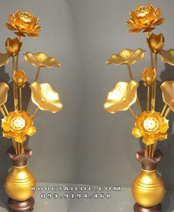 đôi lọ hoa sen bằng đồng thờ phật đẹp nhất