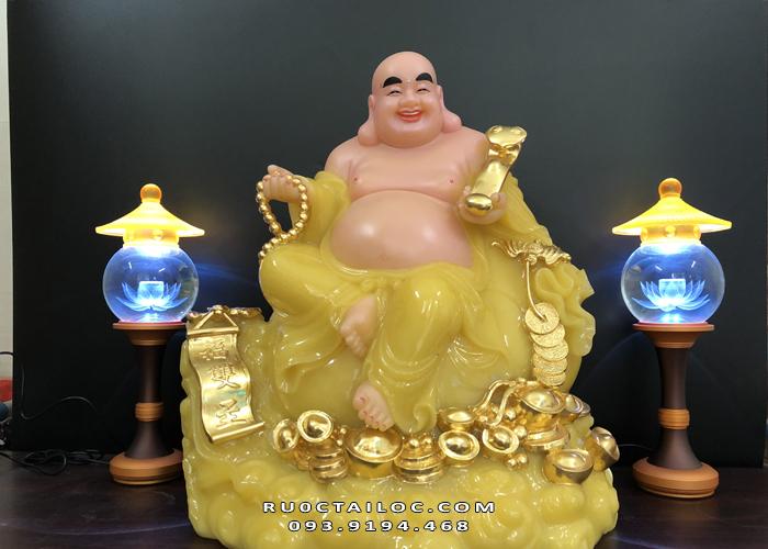 tượng phật di lặc màu vàng thạch anh đẹp