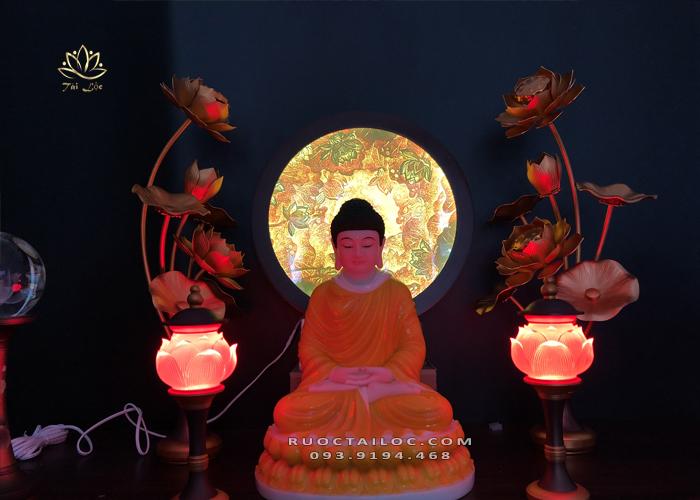 hào quang trúc chỉ sen quy tâm thờ Phật đẹp