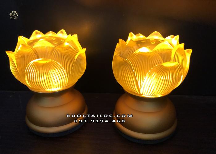 đèn sen cụp dùng pin thờ phật đẹp