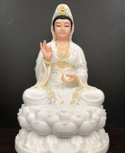 tượng quan thế âm trắng viền vàng đẹp nhất