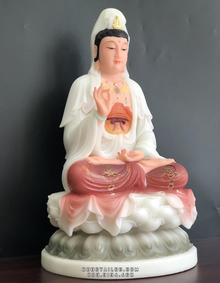 tượng phật bà quan âm bằng bột đá vẽ màu khoáng đẹp nhất