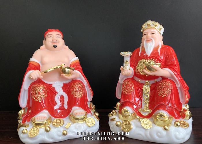 Tượng Ông Địa Thần Tài được chế tác từ bột đá đỏ cao cấp