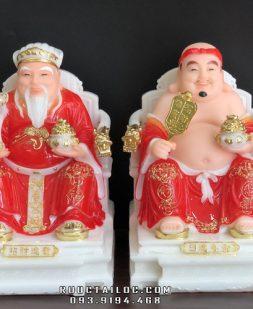 tượng ông địa thần tài bằng đá đỏ ghế tay rồng đẹp giá rẻ