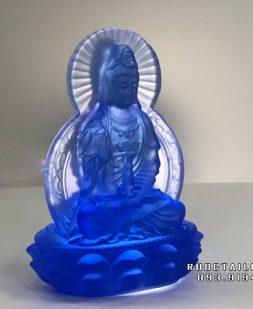tượng phật bà quan âm bằng lưu ly xanh cao 11cm đẹp nhất