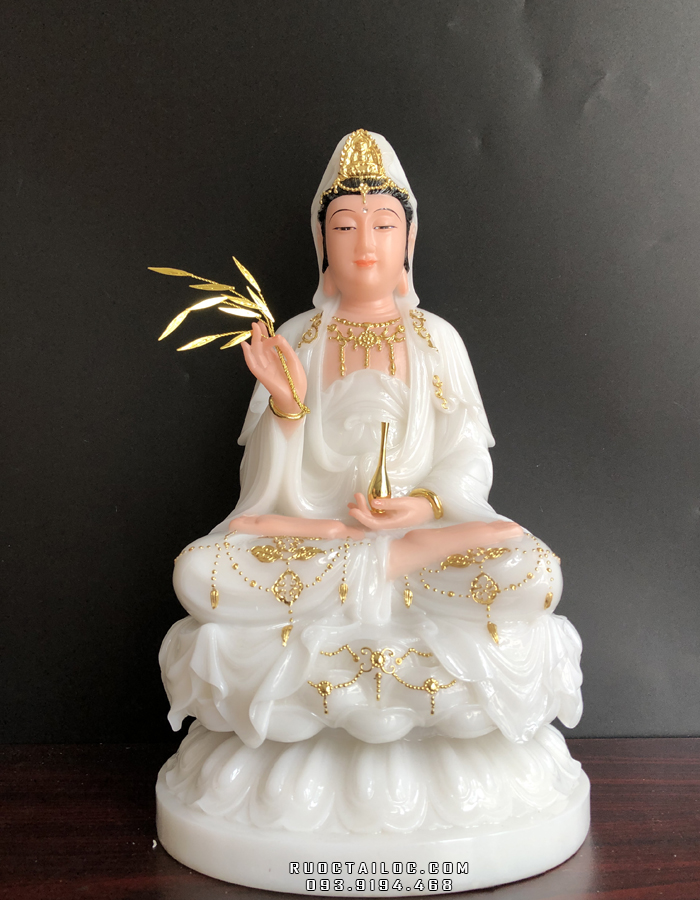 tượng mẹ quan thế âm bồ tát bằng đá trắng viền vàng đẹp