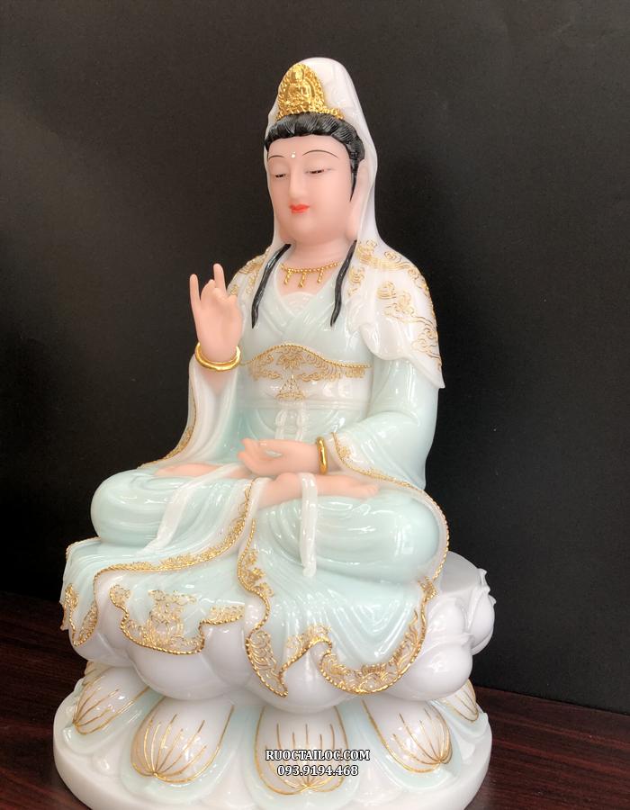 tượng quan âm xanh viền vàng đẹp giá rẻ nhất