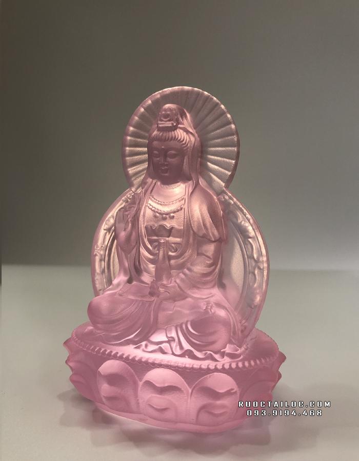 tượng phật bà quan âm bằng lưu ly hồng để bàn làm việc đẹp