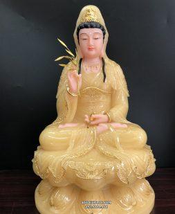 tượng mẹ quan thế âm bồ tát bằng đá thạch anh viền vàng đẹp
