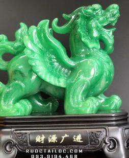 tỳ hưu phong thủy xanh ngọc đẹp dài 27cm để bàn đẹp nhất