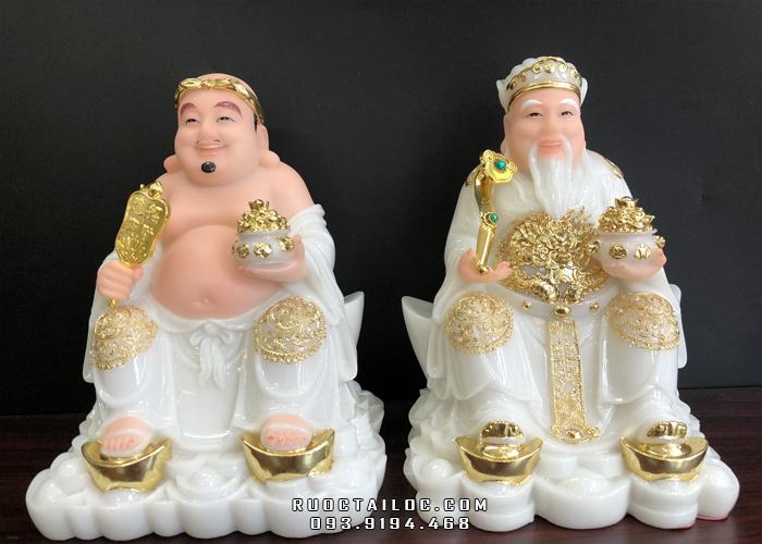 Tượng Ông Địa Thần Tài bột đá trắng viền vàng đế thỏi vàng ODTT - 012