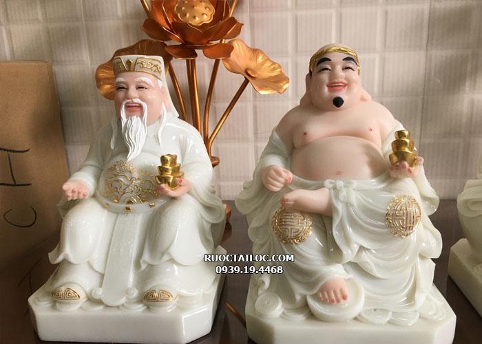 Tượng Ông Địa Thần Tài bằng đá trắng ODTT - 006