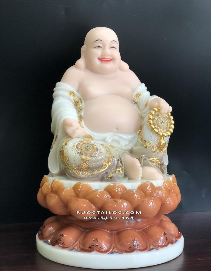 Tượng Phật Di Lặc bằng đá khoáng dát vàng đẹp nhất
