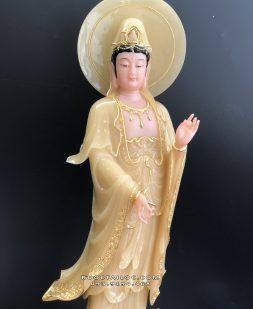 tượng quan âm đứng có hào quang bằng đá vàng ngọc