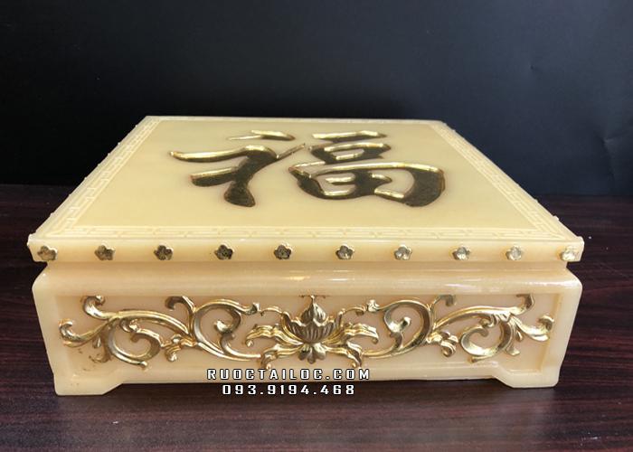 Đôn kê tượng vuông bằng bột đá thạch anh vàng ngọc DT - 002