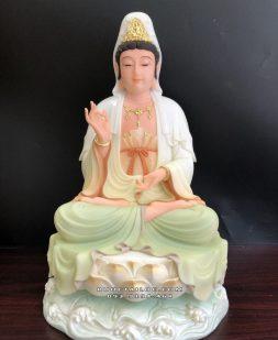 Tượng Quan Âm Bồ tát bằng bột đá cao cấp vẽ màu khoáng